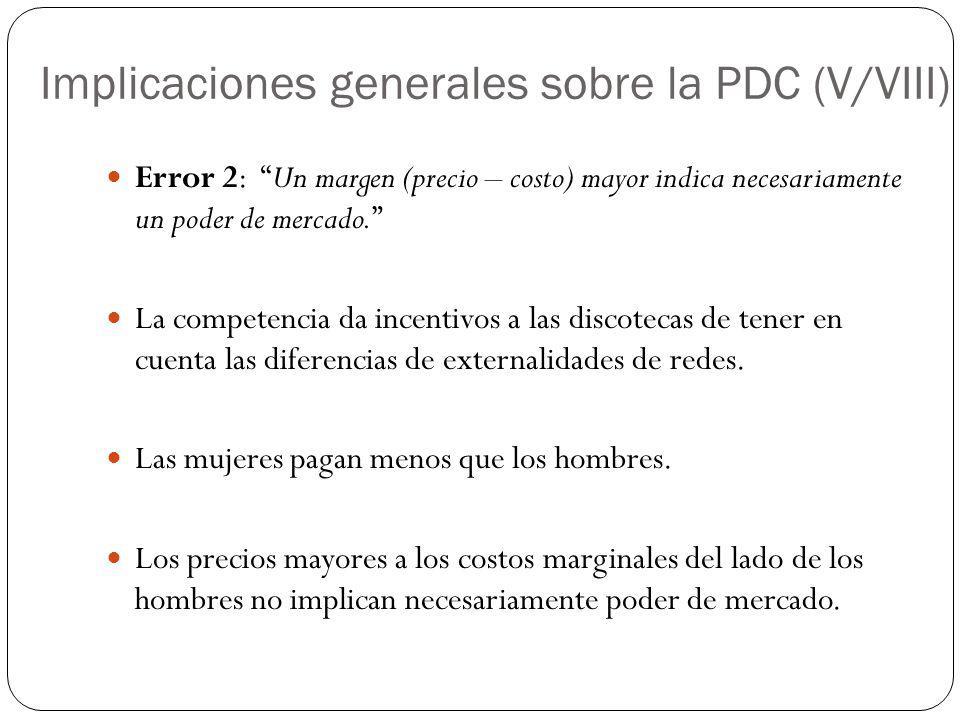 Implicaciones generales sobre la PDC (V/VIII) Error 2: Un margen (precio – costo) mayor indica necesariamente un poder de mercado. La competencia da i