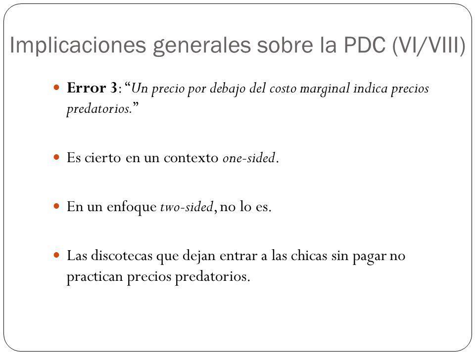 Implicaciones generales sobre la PDC (VI/VIII) Error 3: Un precio por debajo del costo marginal indica precios predatorios. Es cierto en un contexto o