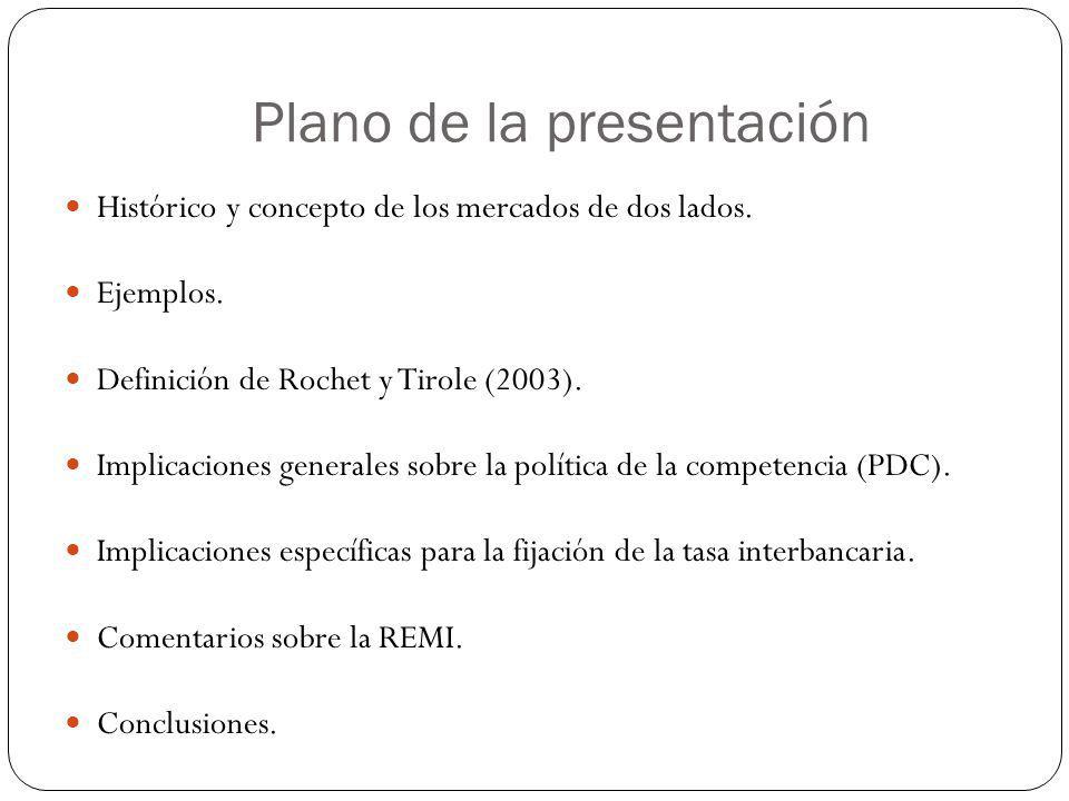 Plano de la presentación Histórico y concepto de los mercados de dos lados. Ejemplos. Definición de Rochet y Tirole (2003). Implicaciones generales so