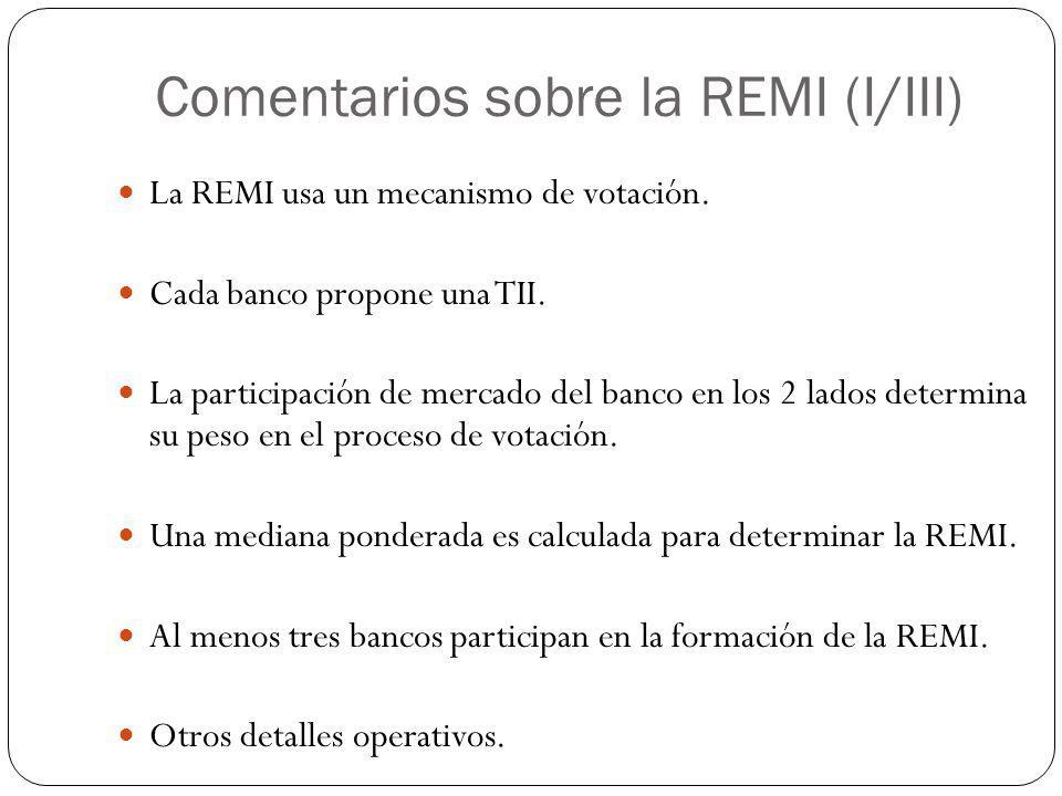 Comentarios sobre la REMI (I/III) La REMI usa un mecanismo de votación. Cada banco propone una TII. La participación de mercado del banco en los 2 lad
