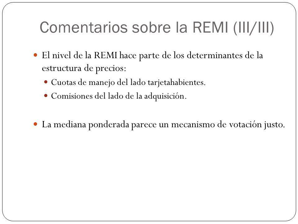Comentarios sobre la REMI (III/III) El nivel de la REMI hace parte de los determinantes de la estructura de precios: Cuotas de manejo del lado tarjeta