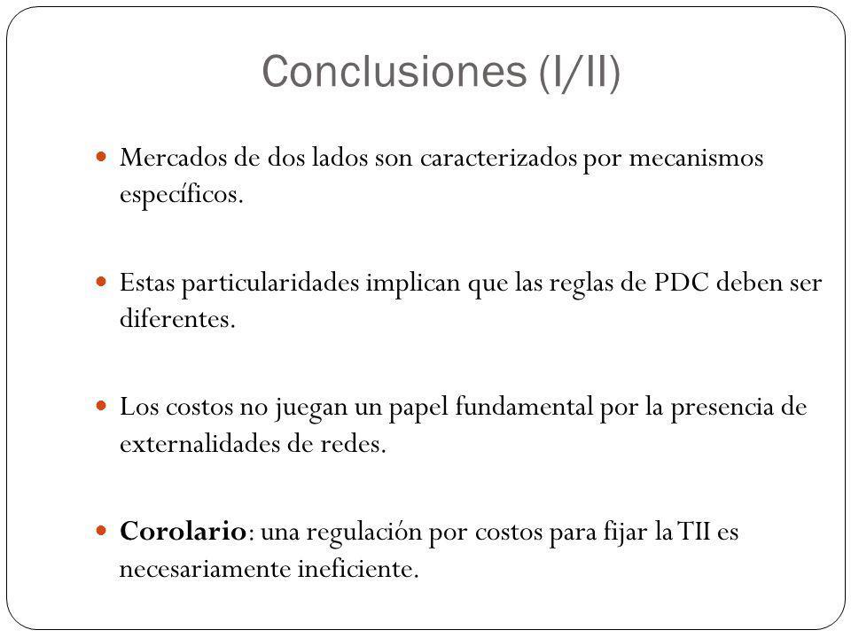 Conclusiones (I/II) Mercados de dos lados son caracterizados por mecanismos específicos. Estas particularidades implican que las reglas de PDC deben s