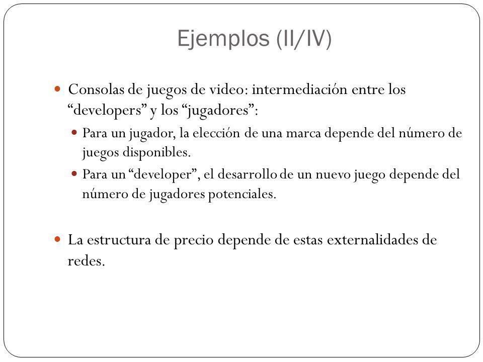 Ejemplos (II/IV) Consolas de juegos de video: intermediación entre los developers y los jugadores: Para un jugador, la elección de una marca depende d