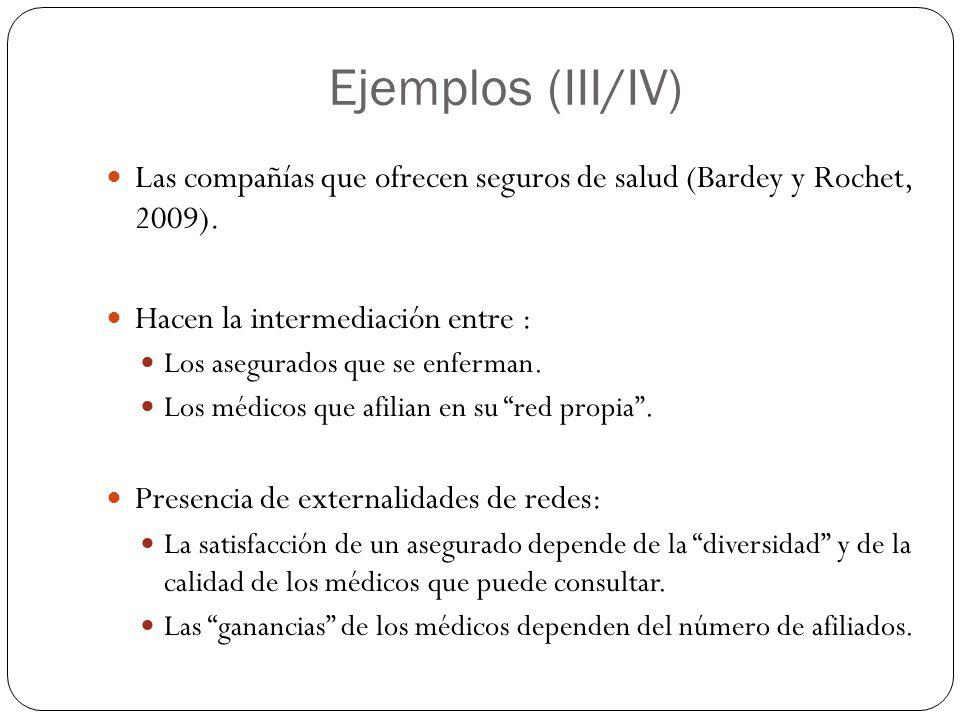 Ejemplos (III/IV) Las compañías que ofrecen seguros de salud (Bardey y Rochet, 2009). Hacen la intermediación entre : Los asegurados que se enferman.