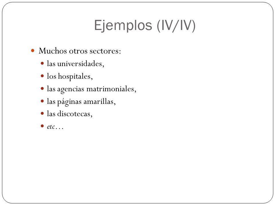 Ejemplos (IV/IV) Muchos otros sectores: las universidades, los hospitales, las agencias matrimoniales, las páginas amarillas, las discotecas, etc…