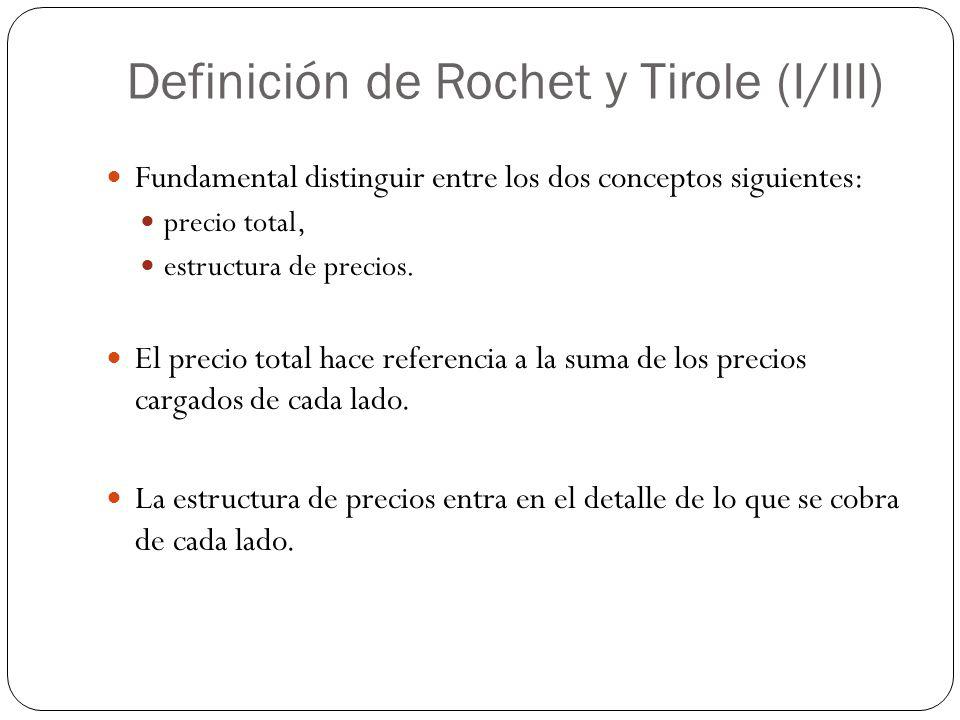Definición de Rochet y Tirole (I/III) Fundamental distinguir entre los dos conceptos siguientes: precio total, estructura de precios. El precio total