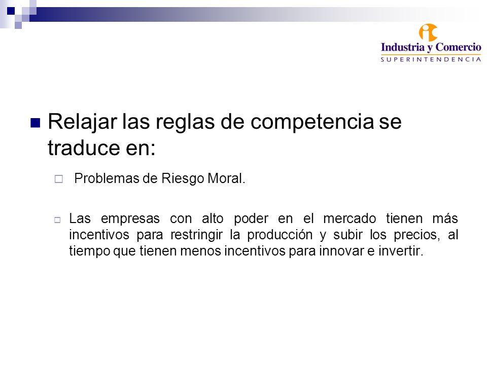Relajar las reglas de competencia se traduce en: Problemas de Riesgo Moral.
