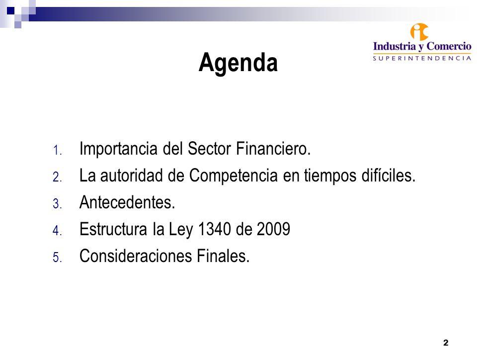 Agenda 1. Importancia del Sector Financiero. 2. La autoridad de Competencia en tiempos difíciles.