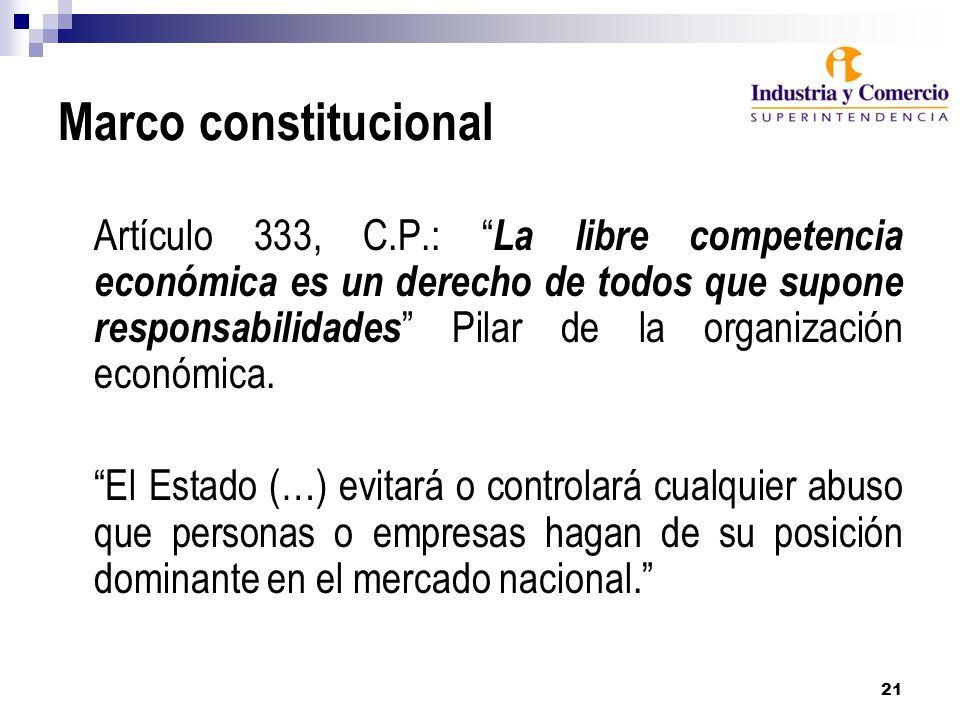 21 Marco constitucional Artículo 333, C.P.: La libre competencia económica es un derecho de todos que supone responsabilidades Pilar de la organización económica.