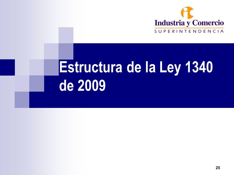 Estructura de la Ley 1340 de 2009 25