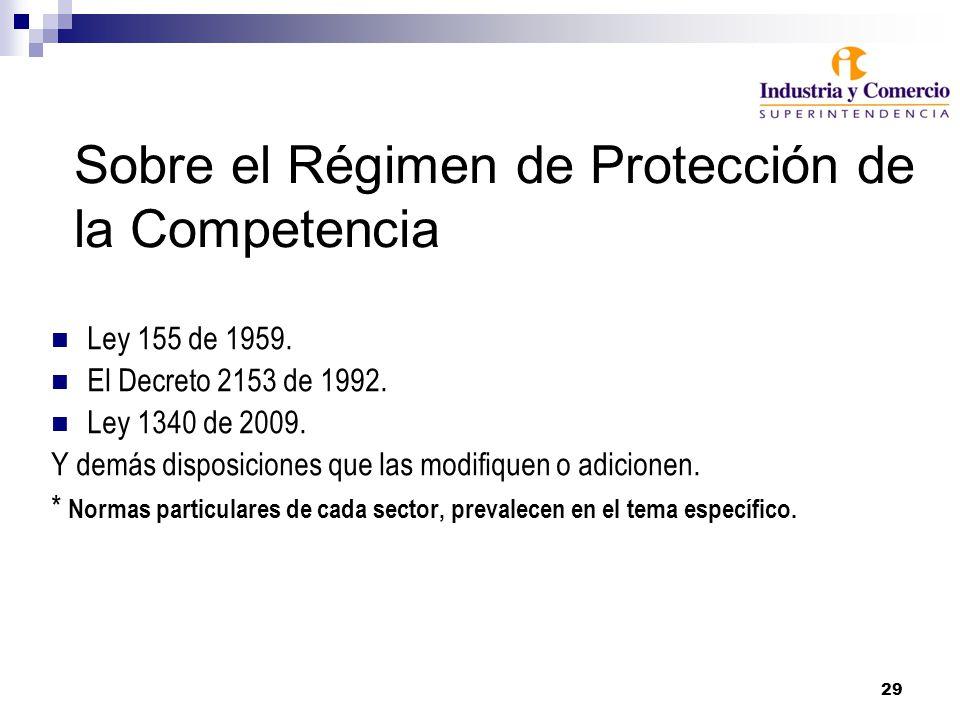 29 Sobre el Régimen de Protección de la Competencia Ley 155 de 1959. El Decreto 2153 de 1992. Ley 1340 de 2009. Y demás disposiciones que las modifiqu