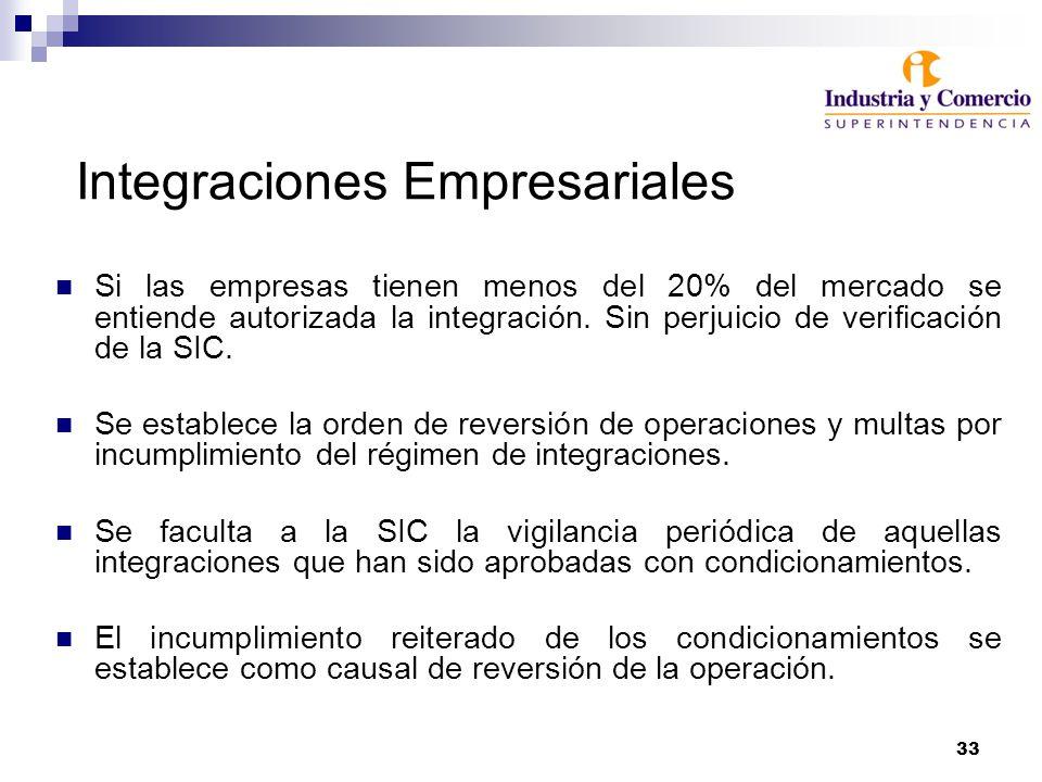 33 Integraciones Empresariales Si las empresas tienen menos del 20% del mercado se entiende autorizada la integración. Sin perjuicio de verificación d