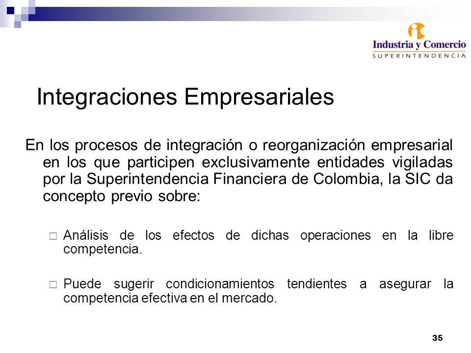 35 Integraciones Empresariales En los procesos de integración o reorganización empresarial en los que participen exclusivamente entidades vigiladas por la Superintendencia Financiera de Colombia, la SIC da concepto previo sobre: Análisis de los efectos de dichas operaciones en la libre competencia.