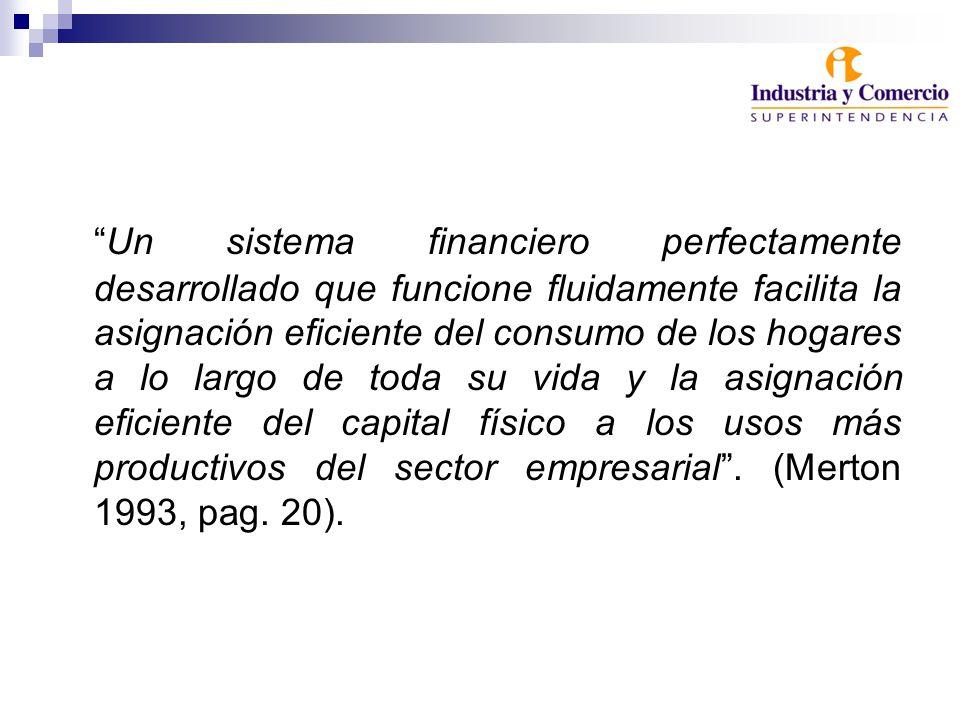 Un sistema financiero perfectamente desarrollado que funcione fluidamente facilita la asignación eficiente del consumo de los hogares a lo largo de toda su vida y la asignación eficiente del capital físico a los usos más productivos del sector empresarial.