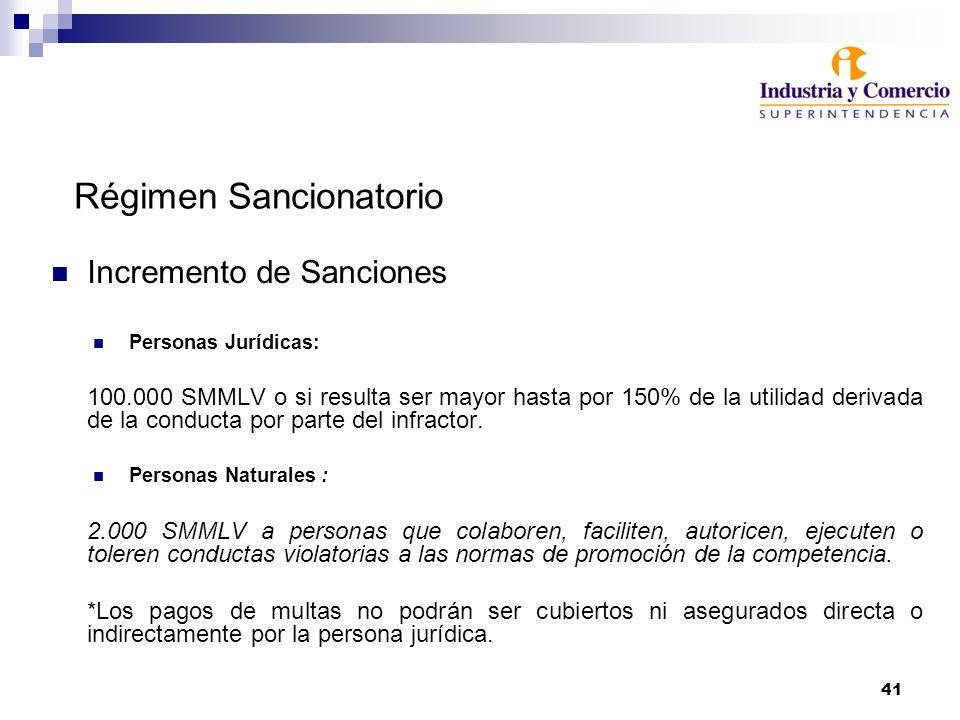 41 Régimen Sancionatorio Incremento de Sanciones Personas Jurídicas: 100.000 SMMLV o si resulta ser mayor hasta por 150% de la utilidad derivada de la conducta por parte del infractor.