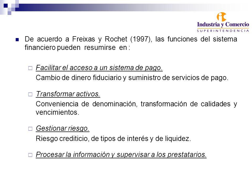 De acuerdo a Freixas y Rochet (1997), las funciones del sistema financiero pueden resumirse en : Facilitar el acceso a un sistema de pago.
