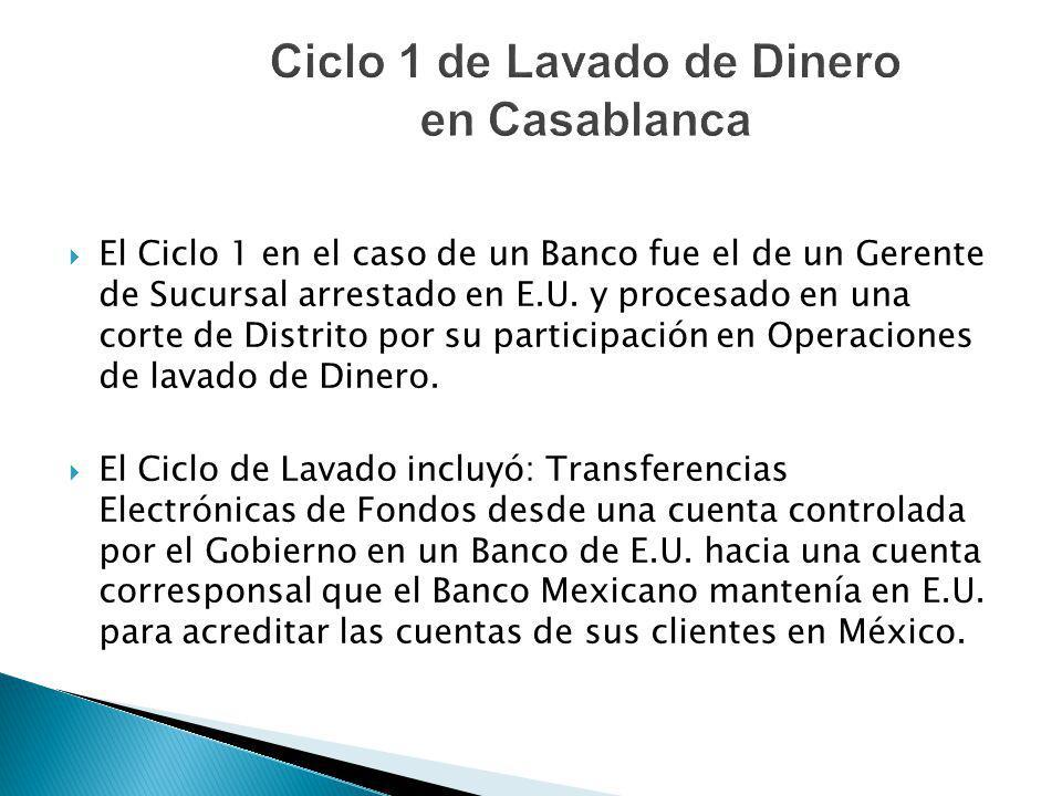 El Ciclo 1 en el caso de un Banco fue el de un Gerente de Sucursal arrestado en E.U. y procesado en una corte de Distrito por su participación en Oper