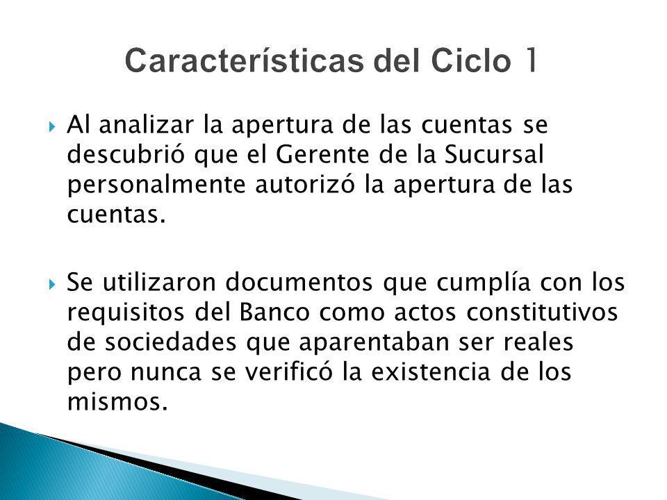 Al analizar la apertura de las cuentas se descubrió que el Gerente de la Sucursal personalmente autorizó la apertura de las cuentas. Se utilizaron doc