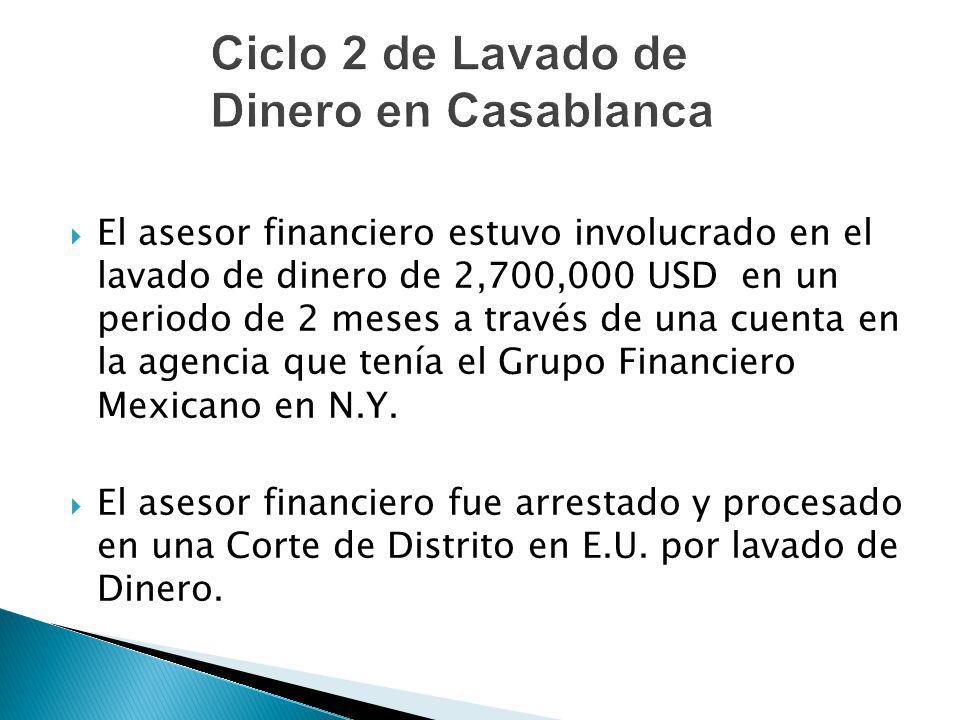 El asesor financiero estuvo involucrado en el lavado de dinero de 2,700,000 USD en un periodo de 2 meses a través de una cuenta en la agencia que tení