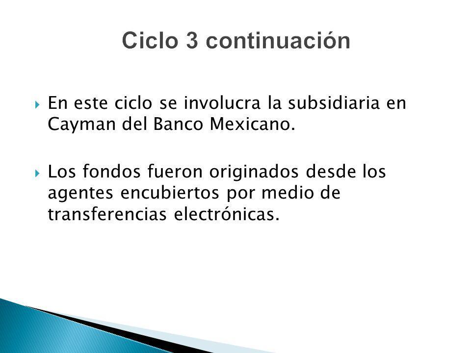 En este ciclo se involucra la subsidiaria en Cayman del Banco Mexicano. Los fondos fueron originados desde los agentes encubiertos por medio de transf