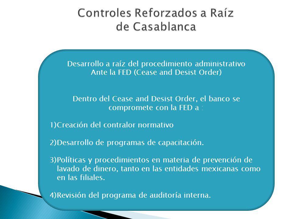 Controles Reforzados a Raíz de Casablanca Desarrollo a raíz del procedimiento administrativo Ante la FED (Cease and Desist Order) Dentro del Cease and