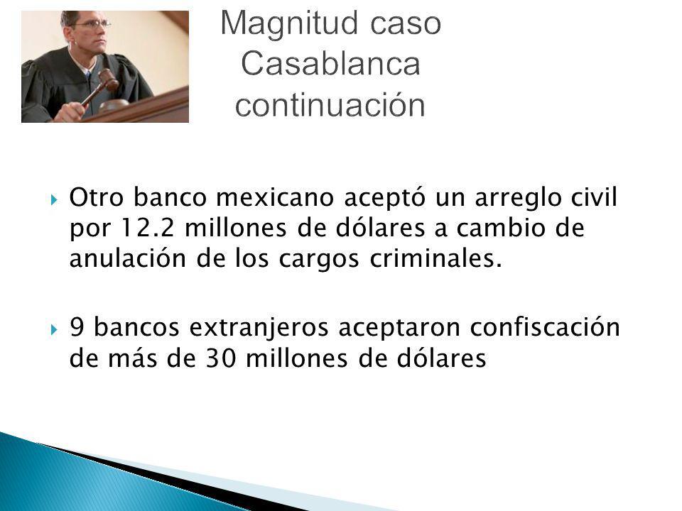 Otro banco mexicano aceptó un arreglo civil por 12.2 millones de dólares a cambio de anulación de los cargos criminales. 9 bancos extranjeros aceptaro