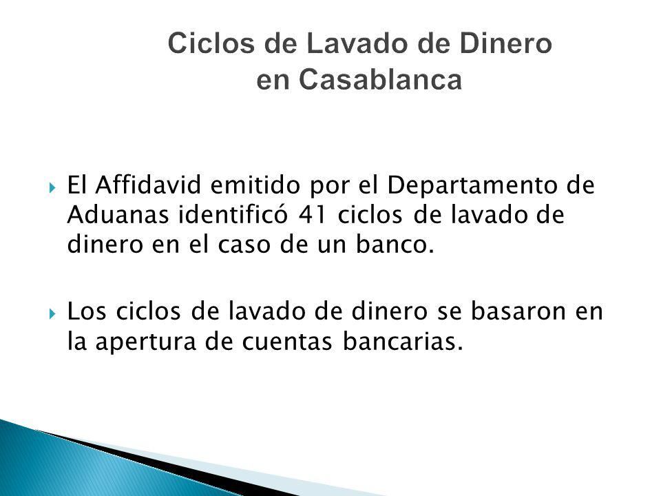 El Affidavid emitido por el Departamento de Aduanas identificó 41 ciclos de lavado de dinero en el caso de un banco. Los ciclos de lavado de dinero se