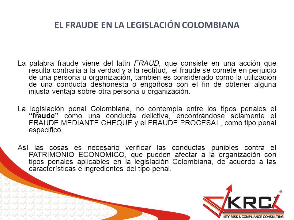 EL FRAUDE EN LA LEGISLACIÓN COLOMBIANA La palabra fraude viene del latin FRAUD, que consiste en una acción que resulta contraria a la verdad y a la re