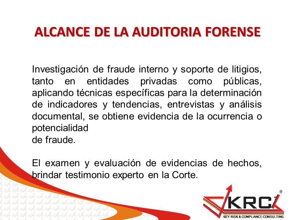 Investigación de fraude interno y soporte de litigios, tanto en entidades privadas como públicas, aplicando técnicas específicas para la determinación