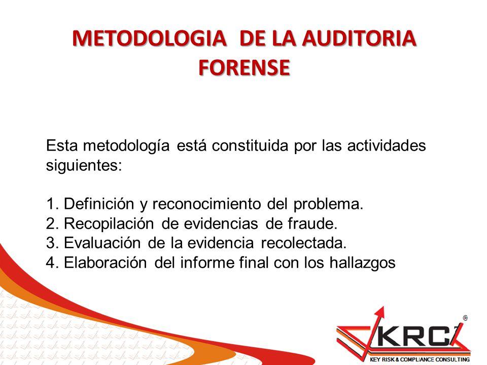 METODOLOGIA DE LA AUDITORIA FORENSE Esta metodología está constituida por las actividades siguientes: 1. Definición y reconocimiento del problema. 2.