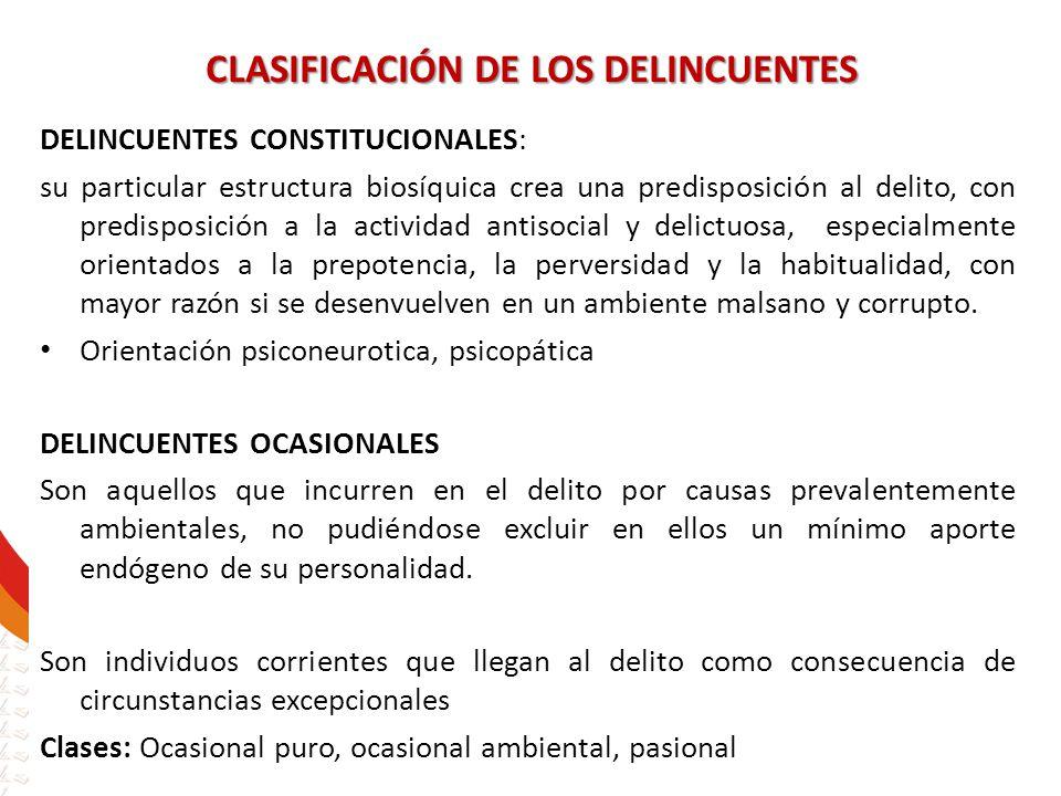 CLASIFICACIÓN DE LOS DELINCUENTES DELINCUENTES CONSTITUCIONALES: su particular estructura biosíquica crea una predisposición al delito, con predisposi
