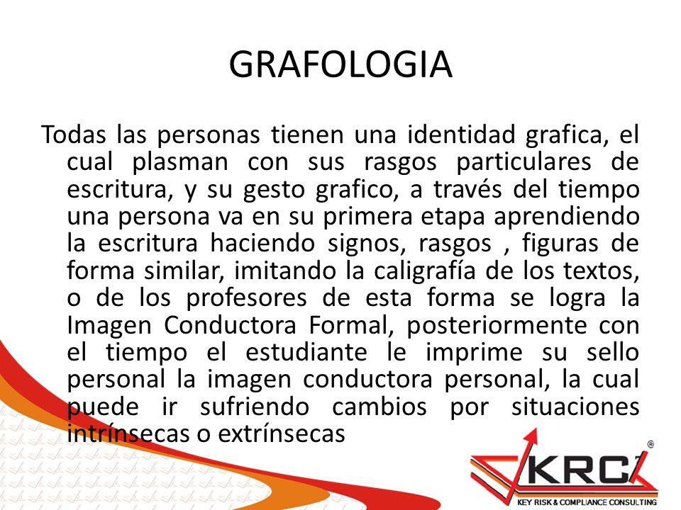 GRAFOLOGIA Todas las personas tienen una identidad grafica, el cual plasman con sus rasgos particulares de escritura, y su gesto grafico, a través del