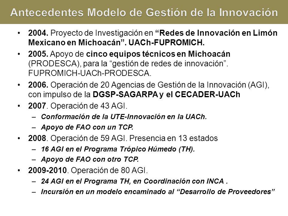 2004. Proyecto de Investigación en Redes de Innovación en Limón Mexicano en Michoacán. UACh-FUPROMICH. 2005. Apoyo de cinco equipos técnicos en Michoa