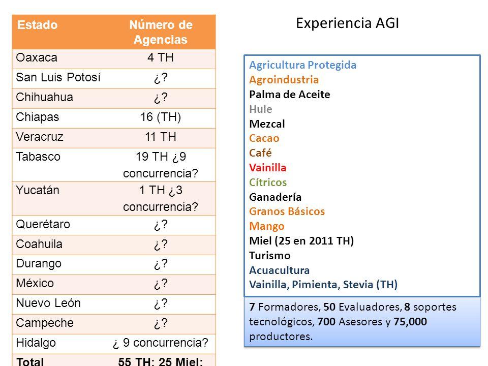Experiencia AGI EstadoNúmero de Agencias Oaxaca4 TH San Luis Potosí¿? Chihuahua¿? Chiapas16 (TH) Veracruz11 TH Tabasco 19 TH ¿9 concurrencia? Yucatán