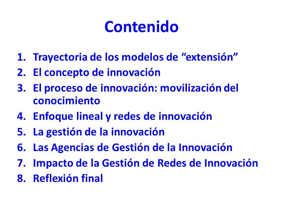Contenido 1.Trayectoria de los modelos de extensión 2.El concepto de innovación 3.El proceso de innovación: movilización del conocimiento 4.Enfoque li