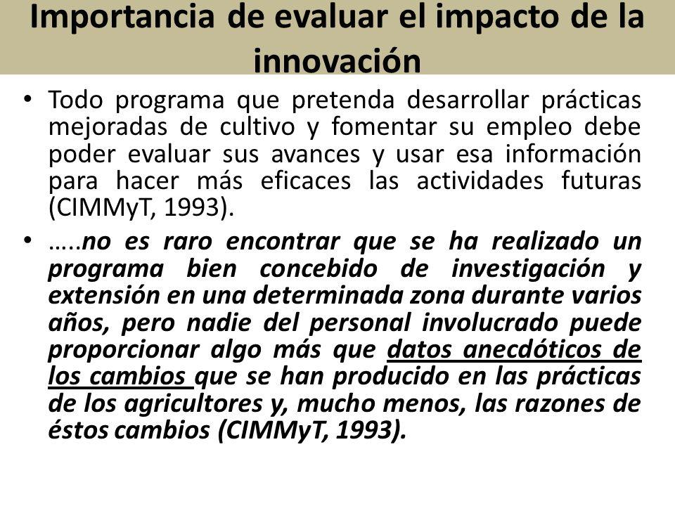 Importancia de evaluar el impacto de la innovación Todo programa que pretenda desarrollar prácticas mejoradas de cultivo y fomentar su empleo debe pod