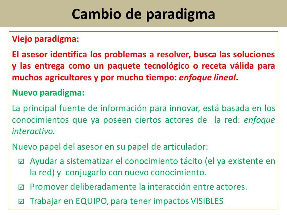 Cambio de paradigma Viejo paradigma: El asesor identifica los problemas a resolver, busca las soluciones y las entrega como un paquete tecnológico o r