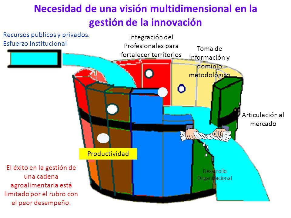 Necesidad de una visión multidimensional en la gestión de la innovación Integración del Profesionales para fortalecer territorios Articulación al merc