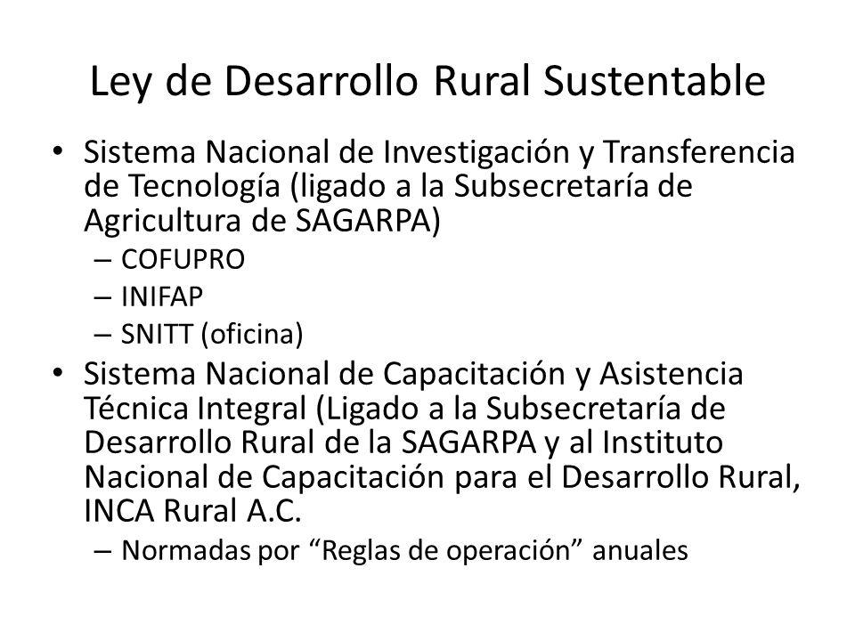 Ley de Desarrollo Rural Sustentable Sistema Nacional de Investigación y Transferencia de Tecnología (ligado a la Subsecretaría de Agricultura de SAGAR
