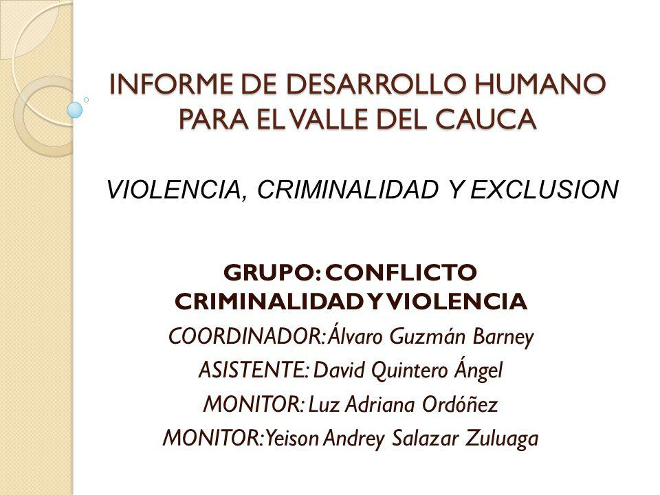 Delitos Violentos en las comunas de Cali FUENTES: Estadísticas delincuenciales Policía Metropolitana de Cali.