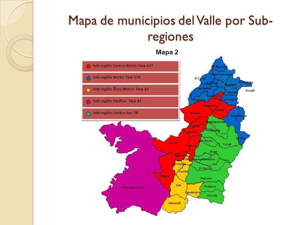 Mapa de municipios del Valle por Sub- regiones Sub-regi ó n Centro-Norte: Tasa 137 Sub-regi ó n Norte: Tasa 114 Sub-regi ó n Á rea Metro: Tasa 87 Sub-