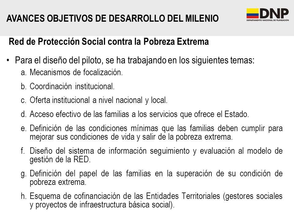 Red de Protección Social contra la Pobreza Extrema Para el diseño del piloto, se ha trabajando en los siguientes temas: a.Mecanismos de focalización.