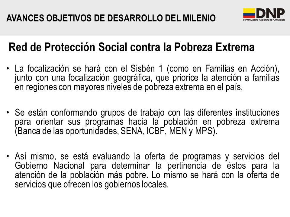 Red de Protección Social contra la Pobreza Extrema La focalización se hará con el Sisbén 1 (como en Familias en Acción), junto con una focalización ge
