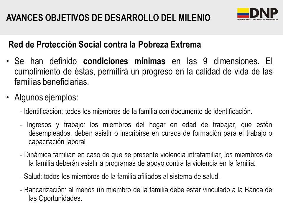 Red de Protección Social contra la Pobreza Extrema Se han definido condiciones mínimas en las 9 dimensiones. El cumplimiento de éstas, permitirá un pr