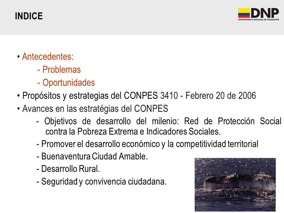 Antecedentes: - Problemas - Oportunidades Propósitos y estrategias del CONPES 3410 - Febrero 20 de 2006 Avances en las estratégias del CONPES - Objeti