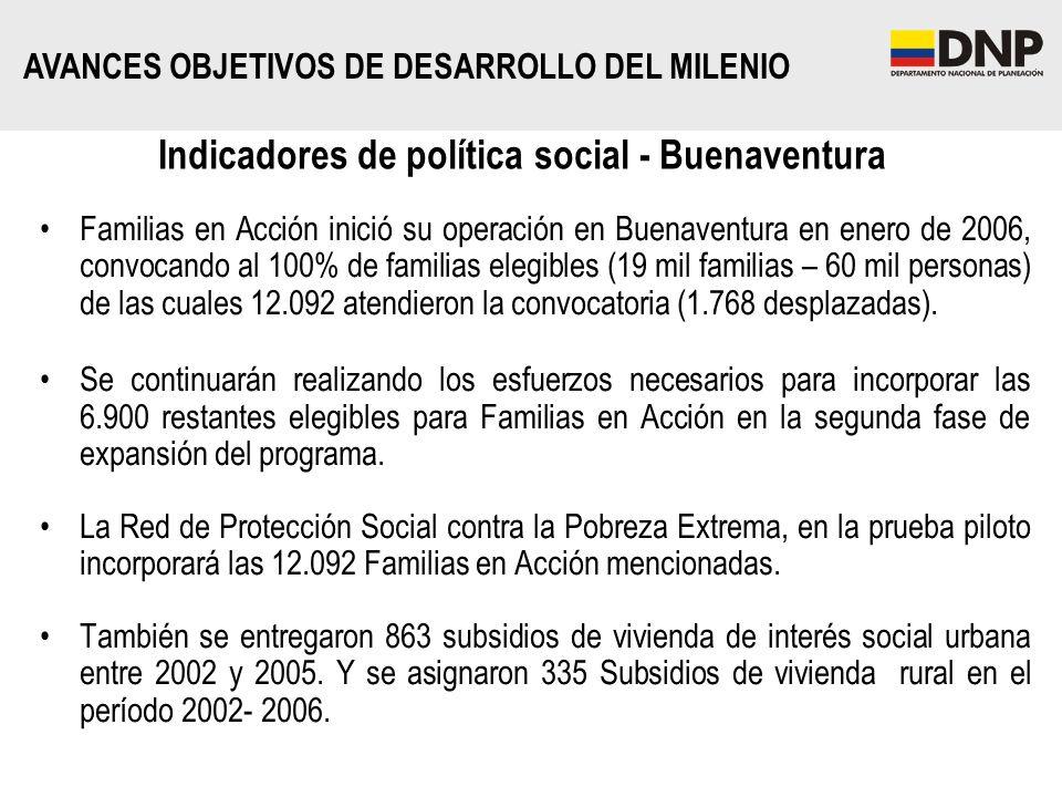 Familias en Acción inició su operación en Buenaventura en enero de 2006, convocando al 100% de familias elegibles (19 mil familias – 60 mil personas)