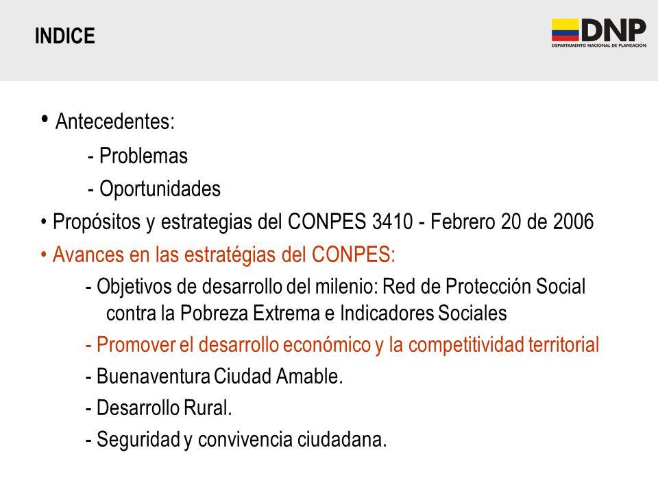 Antecedentes: - Problemas - Oportunidades Propósitos y estrategias del CONPES 3410 - Febrero 20 de 2006 Avances en las estratégias del CONPES: - Objet