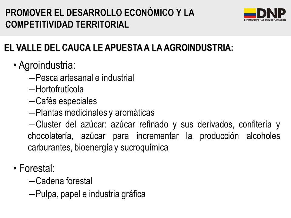PROMOVER EL DESARROLLO ECONÓMICO Y LA COMPETITIVIDAD TERRITORIAL EL VALLE DEL CAUCA LE APUESTA A LA AGROINDUSTRIA: Agroindustria: Pesca artesanal e in