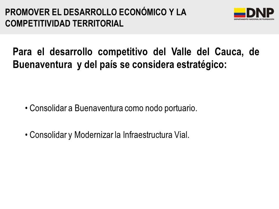 PROMOVER EL DESARROLLO ECONÓMICO Y LA COMPETITIVIDAD TERRITORIAL Consolidar a Buenaventura como nodo portuario. Consolidar y Modernizar la Infraestruc