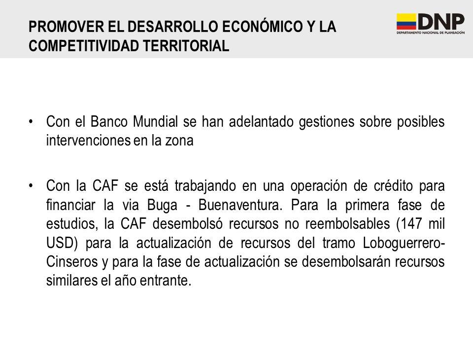 Con el Banco Mundial se han adelantado gestiones sobre posibles intervenciones en la zona Con la CAF se está trabajando en una operación de crédito pa